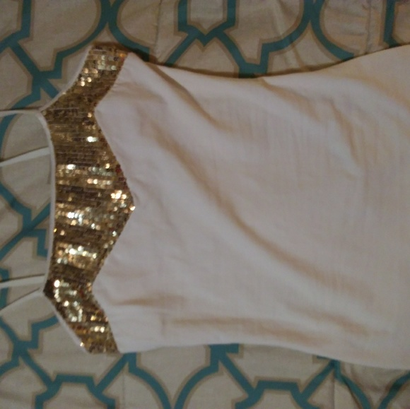 Express Tops - Express off white tank top with gold sequins